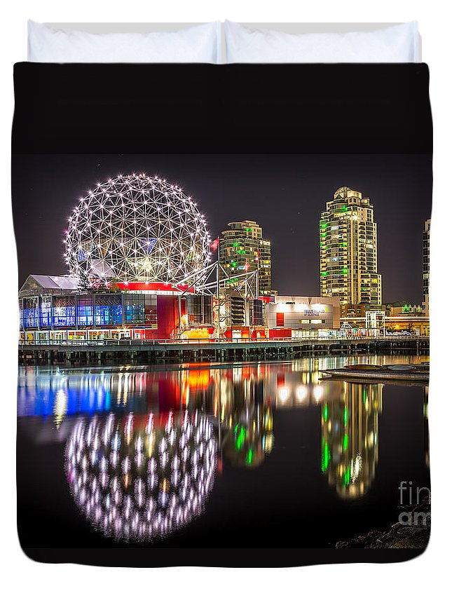 Science World Vancouver Duvet Cover featuring the photograph Vancouver Science World In False Creek - By Sabine Edrissi by Sabine Edrissi