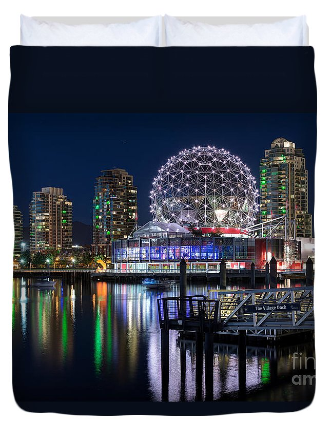 Science World Vancouver Duvet Cover featuring the photograph Vancouver Telus World Of Science - By Sabine Edrissi by Sabine Edrissi