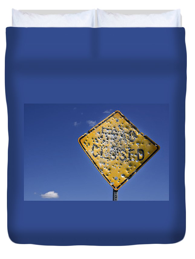 Close Up Duvet Cover featuring the photograph Vandalized Road Sign Many Bullet Holes by Donald Erickson
