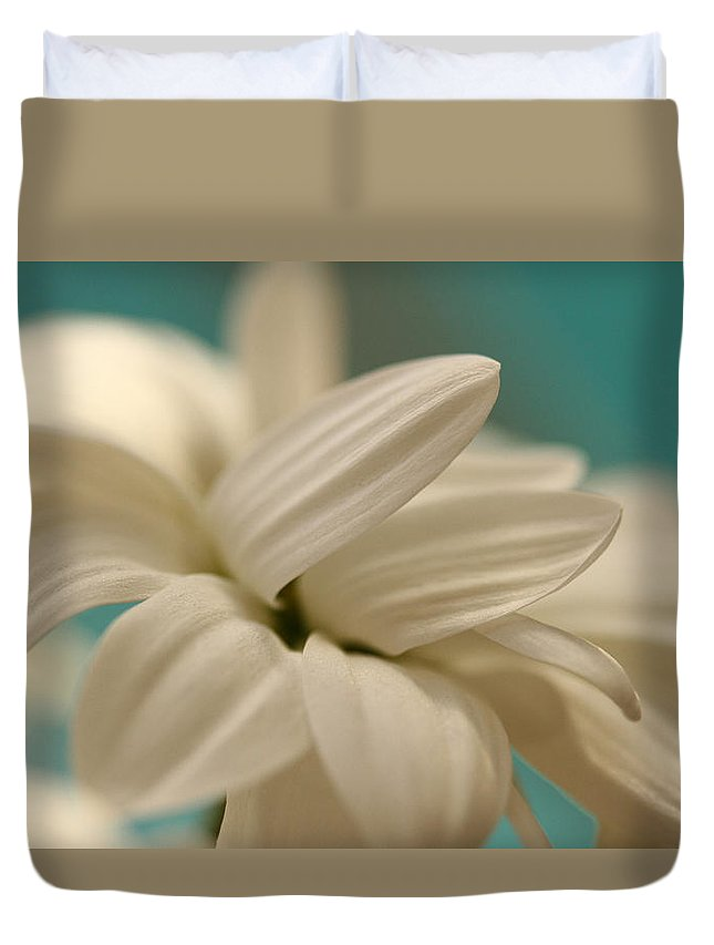 Chrysanthemum Duvet Cover featuring the photograph Vanilla Creme by Connie Handscomb