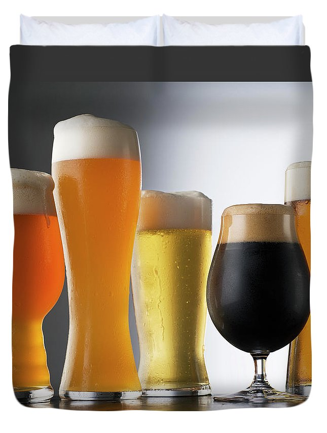 Five Objects Duvet Cover featuring the photograph Variety Of Beer Glasses by Jack Andersen