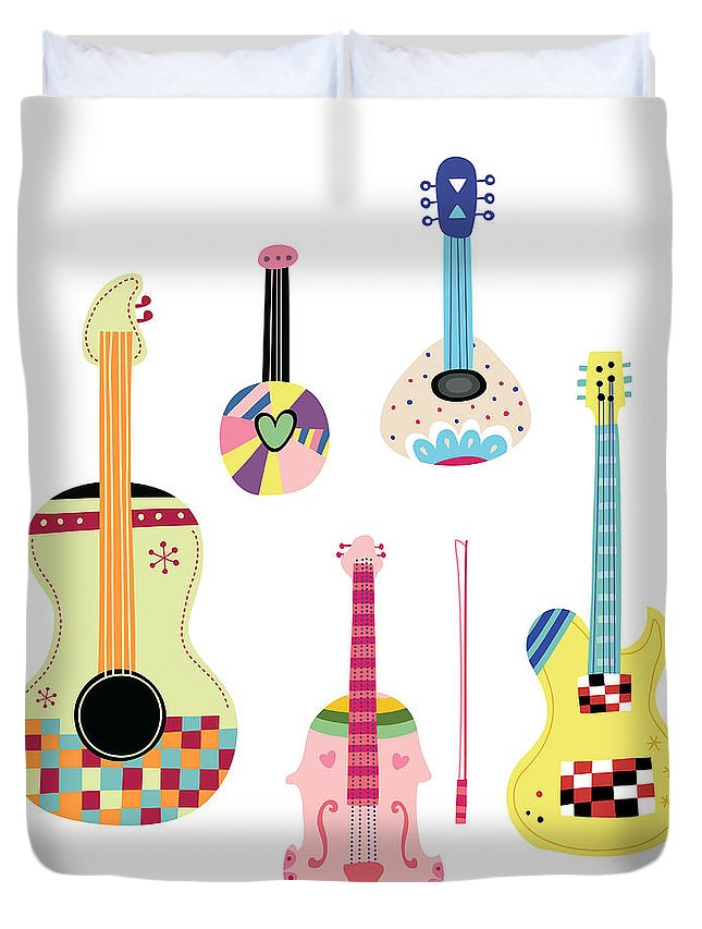 White Background Duvet Cover featuring the digital art Various Kinds Of Stringed Instruments by Eastnine Inc.