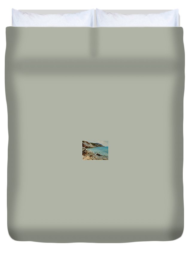 Seascape Duvet Cover featuring the painting Varkiza by Sefedin Stafa