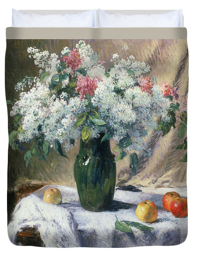 Vase De Fleurs Duvet Cover featuring the painting Vase Of Flowers by Henri Lerolle