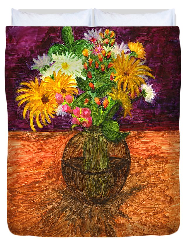 Flowers Duvet Cover featuring the painting Vase Of Flowers by Phyllis Brady