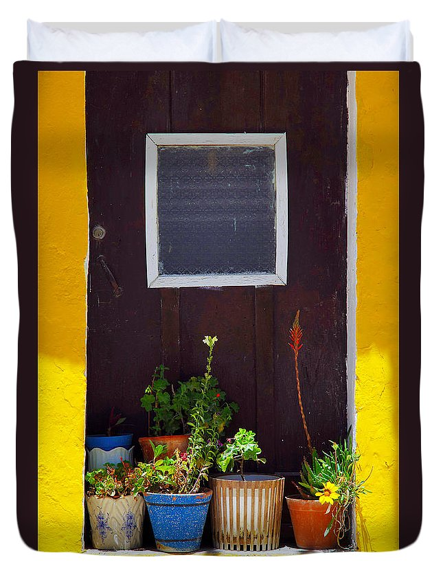 Arrangements Duvet Cover featuring the photograph Vases On The Doorway by Carlos Caetano