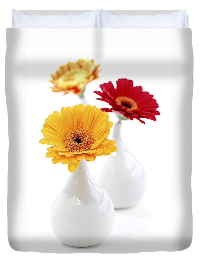 Vase Duvet Cover featuring the photograph Vases With Gerbera Flowers by Elena Elisseeva
