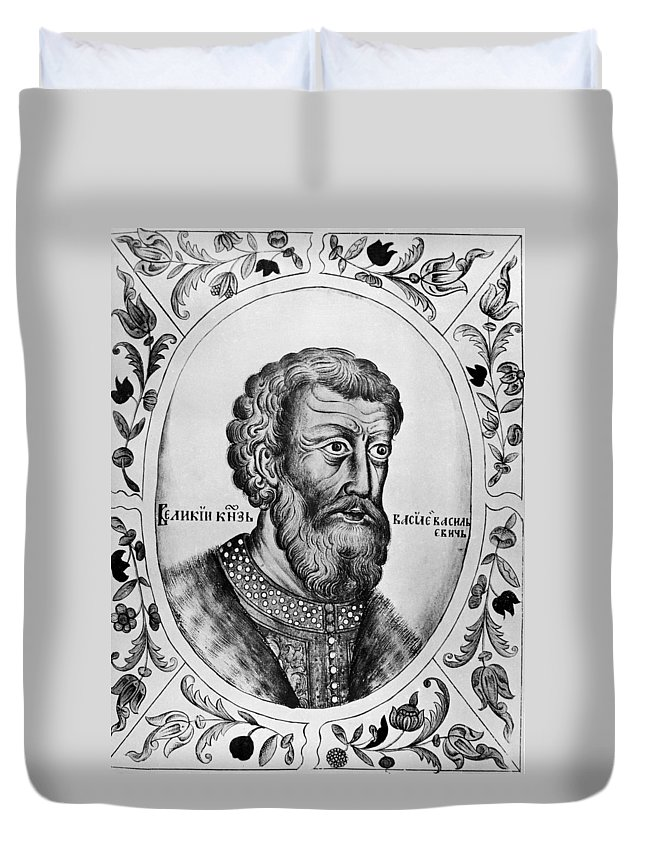15th Century Duvet Cover featuring the painting Vasily II (1415-1462) by Granger