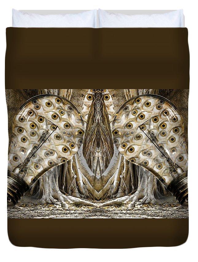 Lightbulb Duvet Cover featuring the digital art Vast Knowledge II by Betsy Knapp