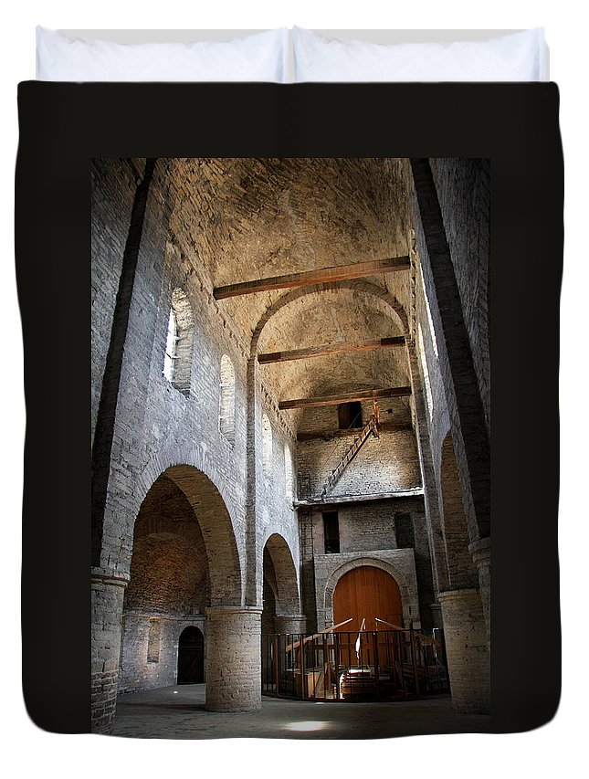 Vault Duvet Cover featuring the photograph Vaulted Roof St Philibert - Tournus by Christiane Schulze Art And Photography