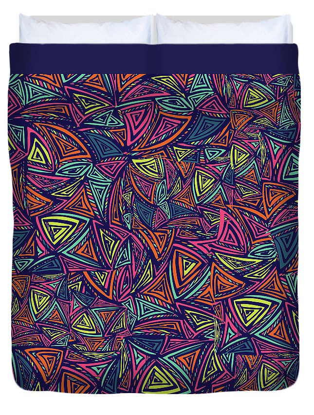 Cool Attitude Duvet Cover featuring the digital art Vector Colorful Seamless Pattern With by Tatiana kost
