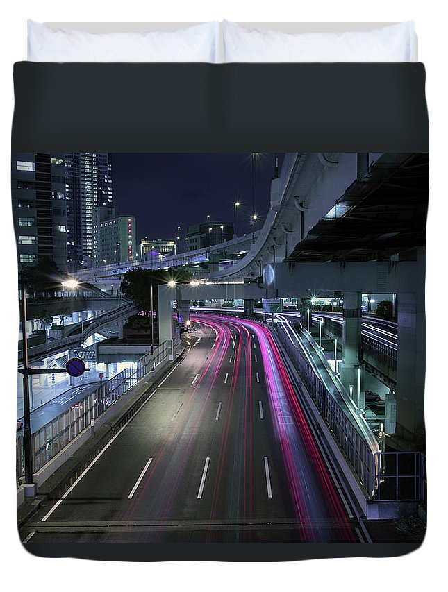 Yokohama Duvet Cover featuring the photograph Vehicle Light Trails On National Route 1 by Digipub