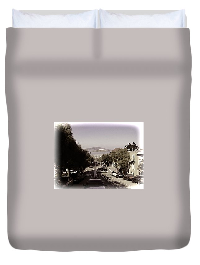 Alcatraz Duvet Cover featuring the photograph Vehicles On A Busy Road Also Used By The Tram Service by Ashish Agarwal
