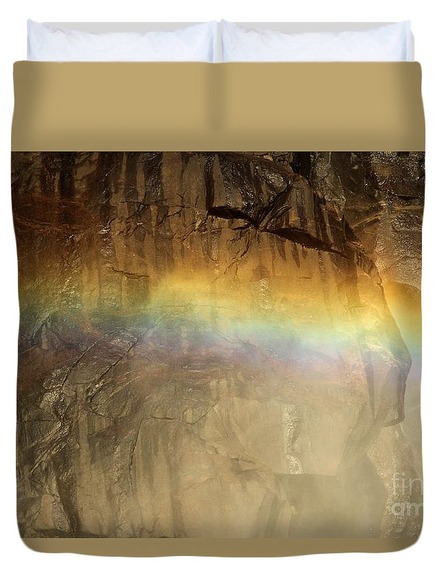 Yosemite National Park Duvet Cover featuring the photograph Veiled By A Rainbow by Adam Jewell