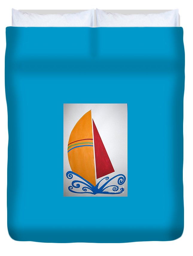 Ocean Duvet Cover featuring the drawing Velas by Zoe Vega Questell