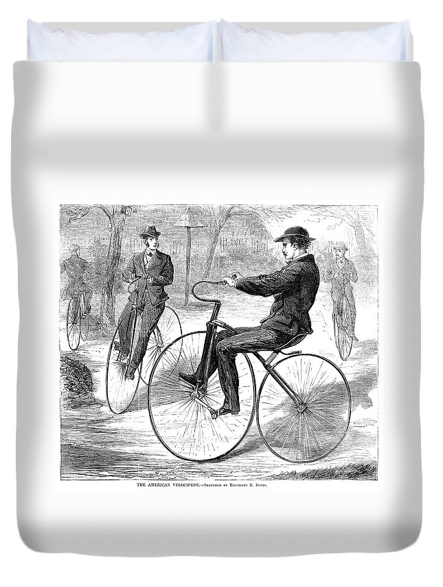 1868 Duvet Cover featuring the painting Velocipedes, 1868 by Granger