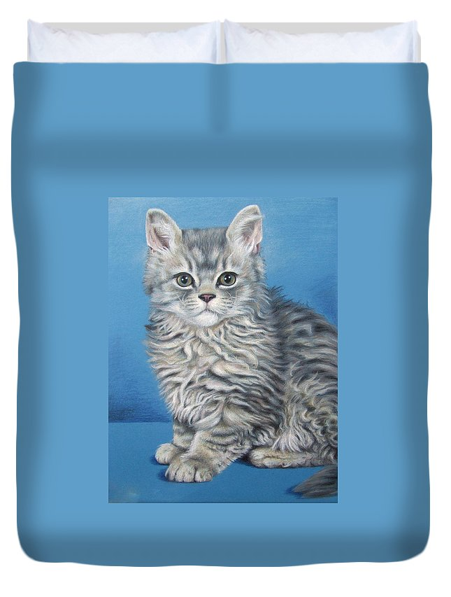 Cat Duvet Cover featuring the drawing Velvet Kitten by Nicole Zeug