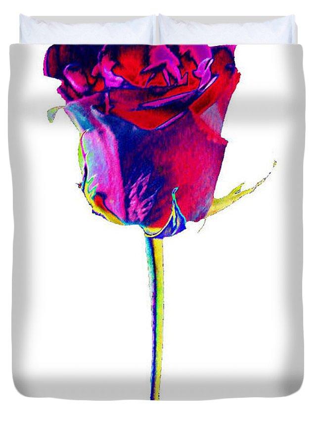 Velvet Duvet Cover featuring the digital art Velvet Rose Bud by Carol Lynch