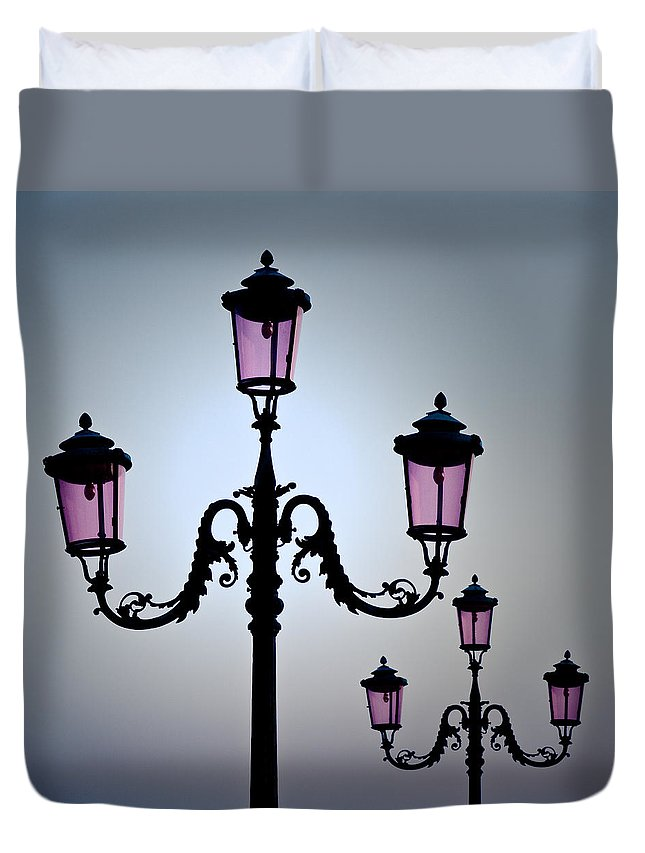 Venice Duvet Cover featuring the photograph Venetian Lamps by Dave Bowman