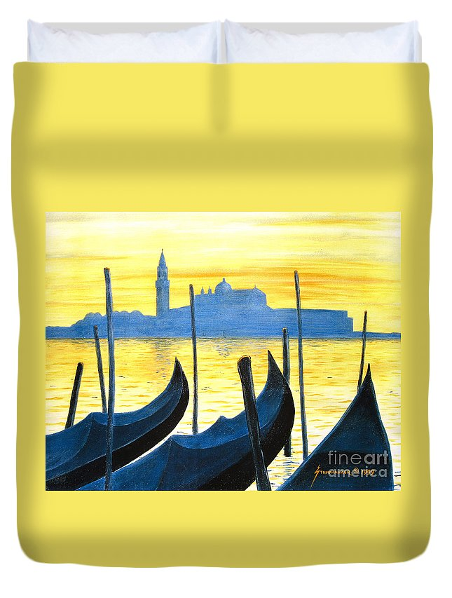 Venice Duvet Cover featuring the painting Venezia Venice Italy by Jerome Stumphauzer