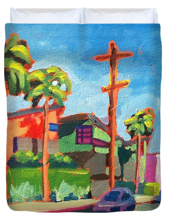 City Scape Duvet Cover featuring the painting Venice Beach Back Streets Hampton Drive by Sean Boyce
