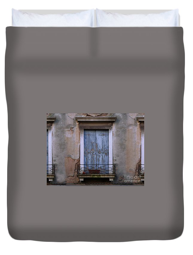 Venice Duvet Cover featuring the painting Venice Blue Shutters Horizontal Photo by Robyn Saunders