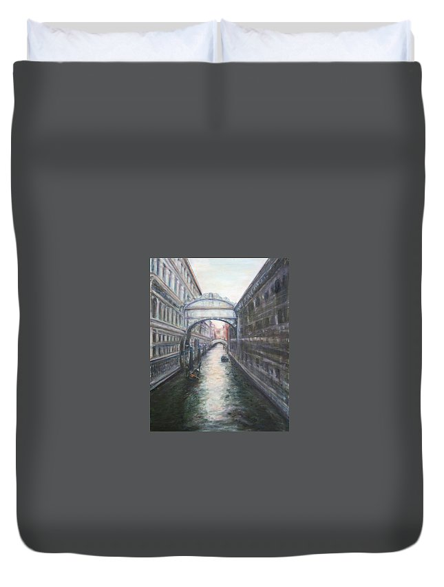 Boat Duvet Cover featuring the painting Venice Bridge Of Sighs - Original Oil Painting by Quin Sweetman