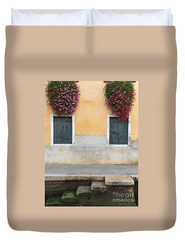 Venice Duvet Cover featuring the painting Venice Canal Shutters With Window Flowers by Robyn Saunders