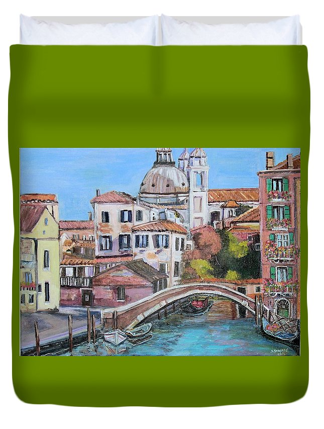 Venice Duvet Cover featuring the painting Venice Canals by Teresa Dominici