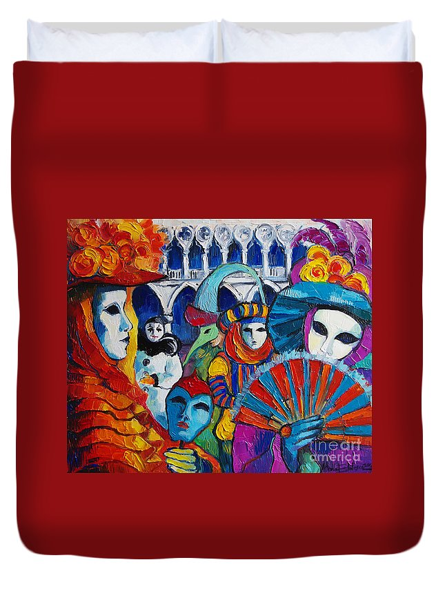 Venice Carnival Duvet Cover featuring the painting Venice Carnival by Mona Edulesco