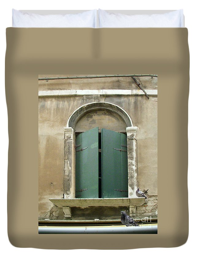 Venice Duvet Cover featuring the painting Venice Green Shutters With Birds by Robyn Saunders