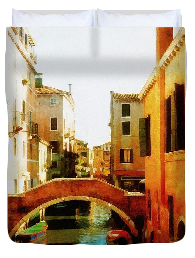 Venice Duvet Cover featuring the photograph Venice Italy Canal With Boats And Laundry by Michelle Calkins