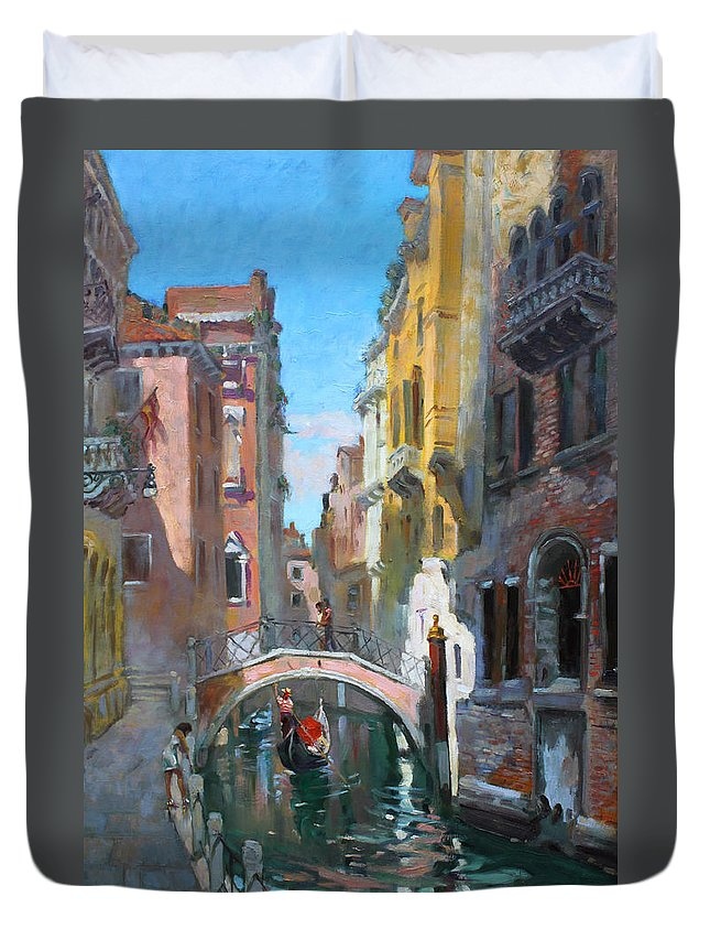 Venice Duvet Cover featuring the painting Venice Italy by Ylli Haruni