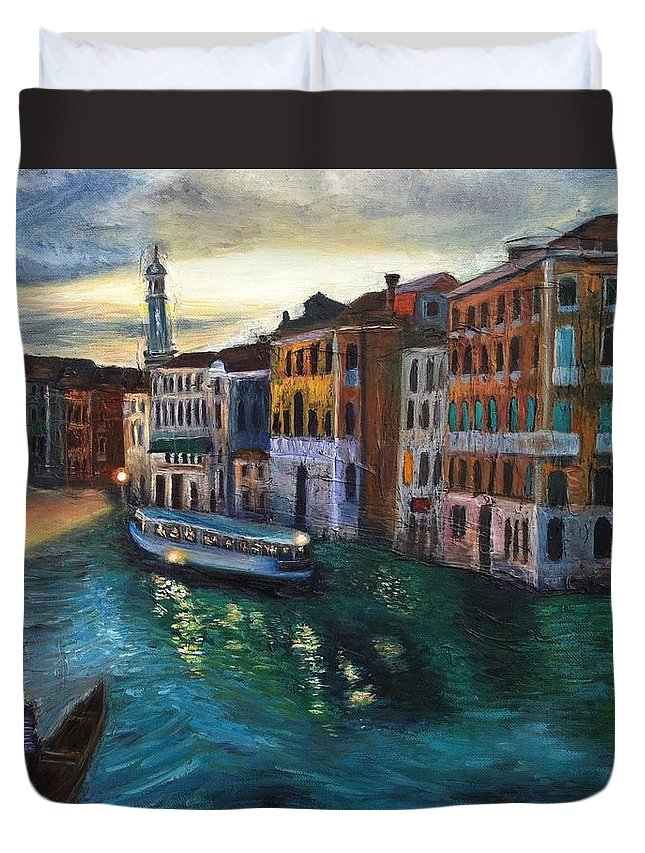 Venice Duvet Cover featuring the painting Venice by Mila Kronik