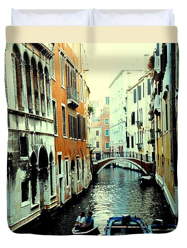 Venice Duvet Cover featuring the photograph Venice Street Scene by Ian MacDonald