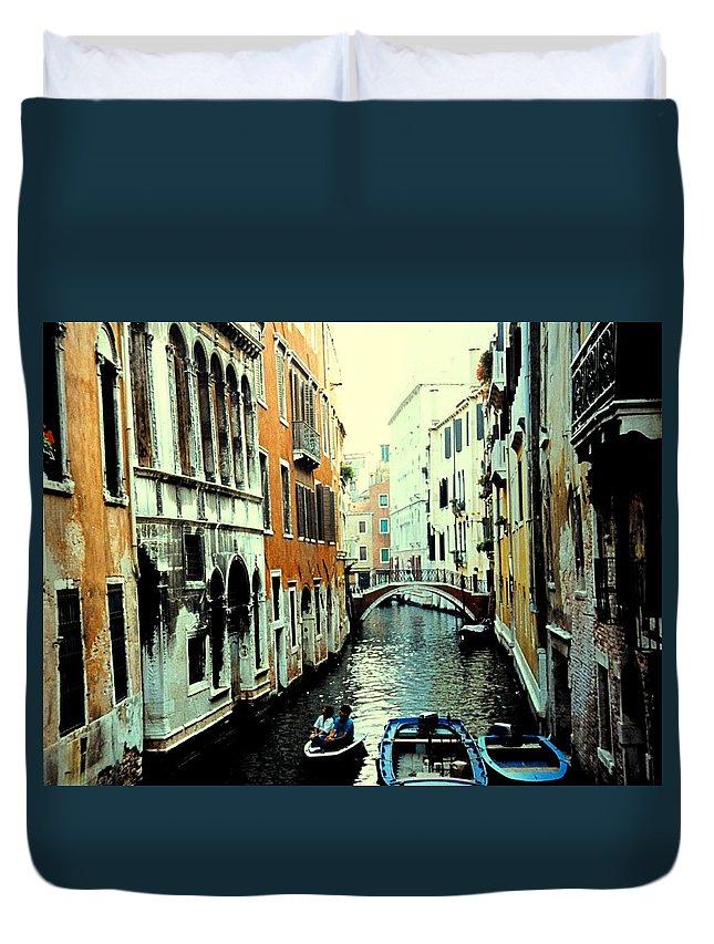 Venice Duvet Cover featuring the photograph Venice Street Scene by Ian MacDonald
