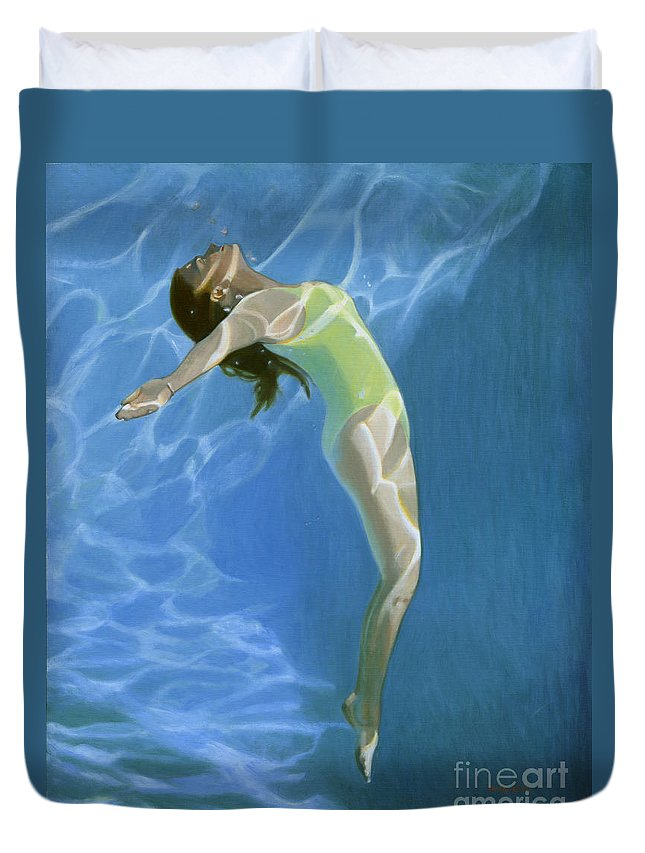 Impressionist Duvet Cover featuring the painting Venus Goes H2o by Candace Lovely