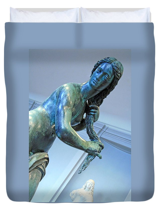 Venus Duvet Cover featuring the photograph Venus Washing Her Hair by Cora Wandel