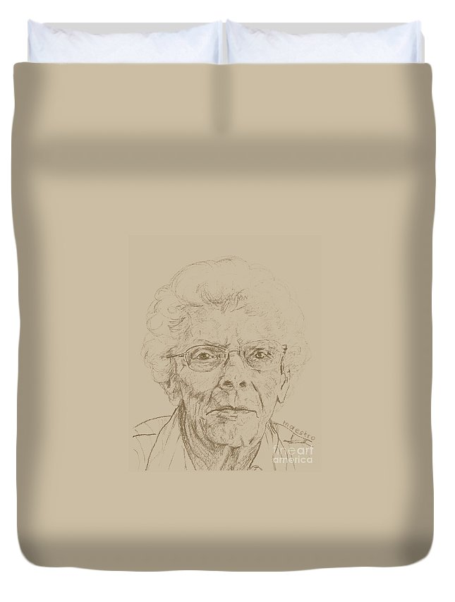 Memory Care Duvet Cover featuring the drawing Vera by PainterArtist FIN