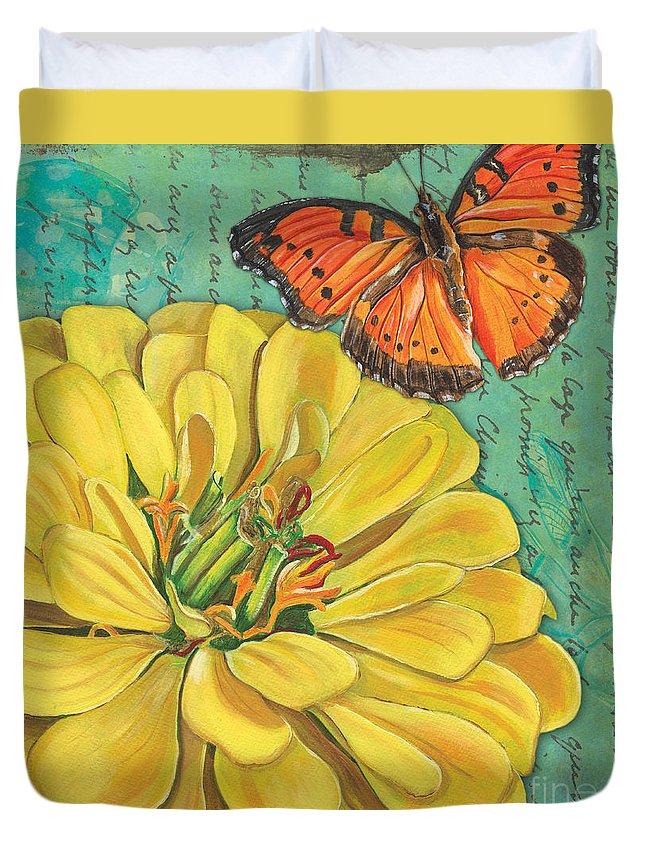 Floral Duvet Cover featuring the painting Verdigris Floral 2 by Debbie DeWitt