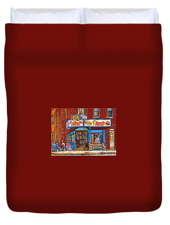 Verdun Duvet Cover featuring the painting Verdun Famous Restaurant Pierrette Patates - Street Hockey Game At 3900 Rue Verdun - Carole Spandau by Carole Spandau