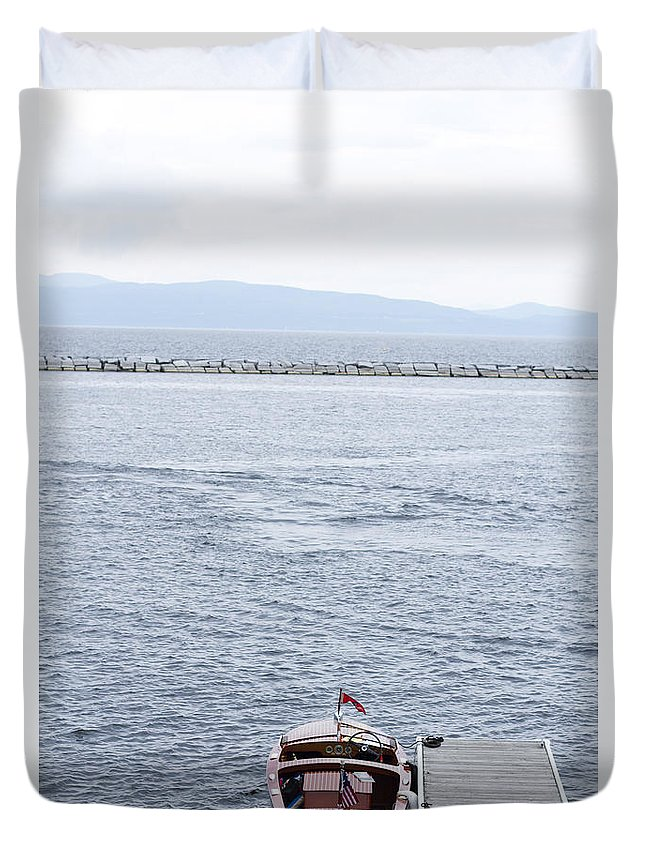Duvet Cover featuring the photograph Vermont Boat Pier by Sara Schroeder