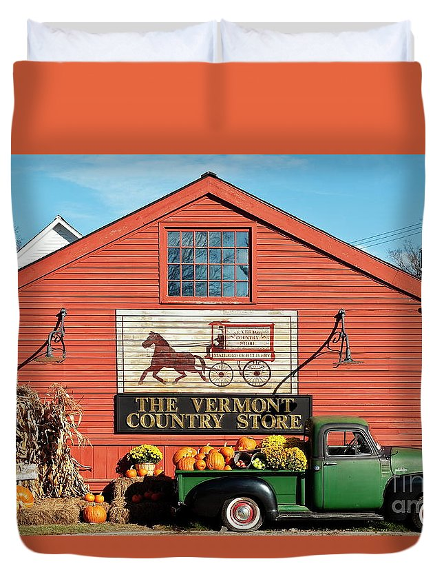 Americana Duvet Cover featuring the photograph Vermont Country Store by John Greim