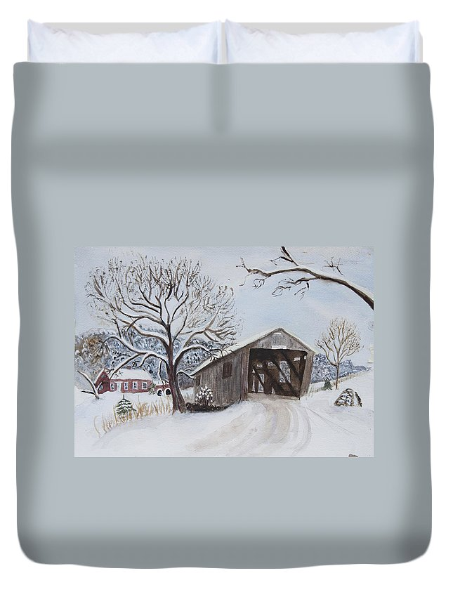 Vermont Duvet Cover featuring the painting Vermont Covered Bridge In Winter by Donna Walsh