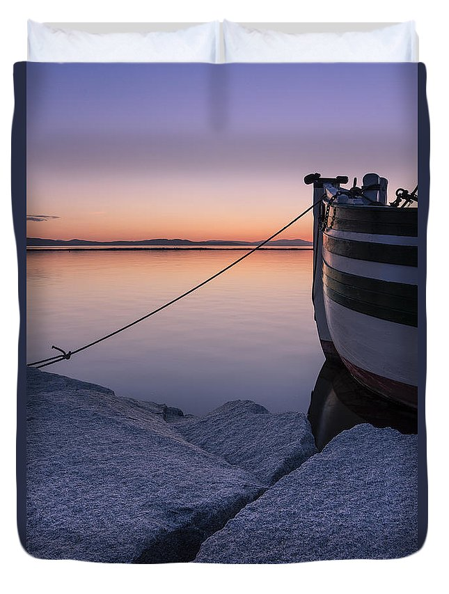 Vermont Duvet Cover featuring the photograph Vermont Lake Champlain Sunset Nautical Boat by Andy Gimino