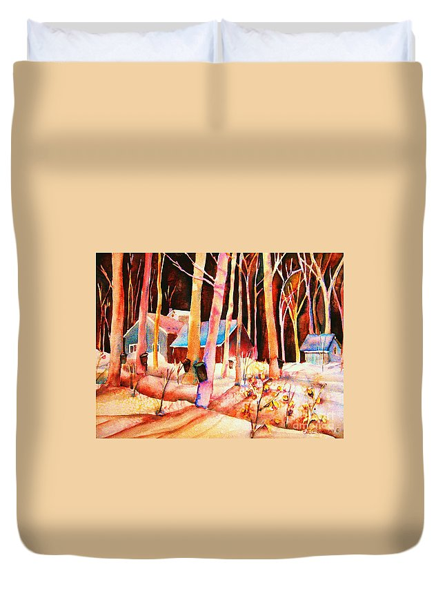 Montreal Duvet Cover featuring the painting Vermont Maple Syrup by Carole Spandau