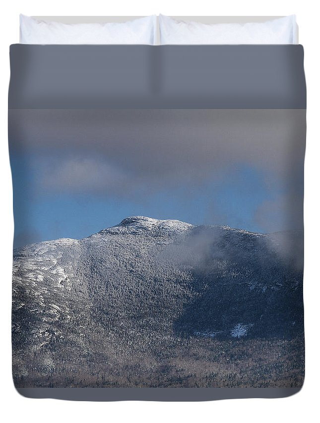 Vermont Duvet Cover featuring the photograph Vermont Mount Mansfield Winter Green Mountains by Andy Gimino