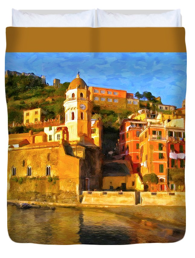 Cinque Terre Duvet Cover featuring the painting Vernazza by Michael Pickett