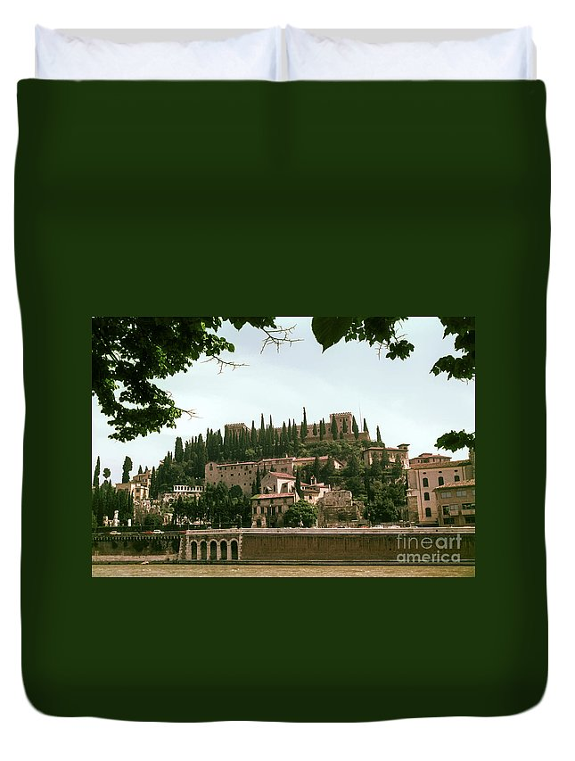 Verona Adige River Rivers Water Bridge Bridges Castle Castles House Houses Building Buildings Structure Structures City Cities Cityscape Cityscapes Tree Trees Italy Duvet Cover featuring the photograph Verona On The Adige by Bob Phillips
