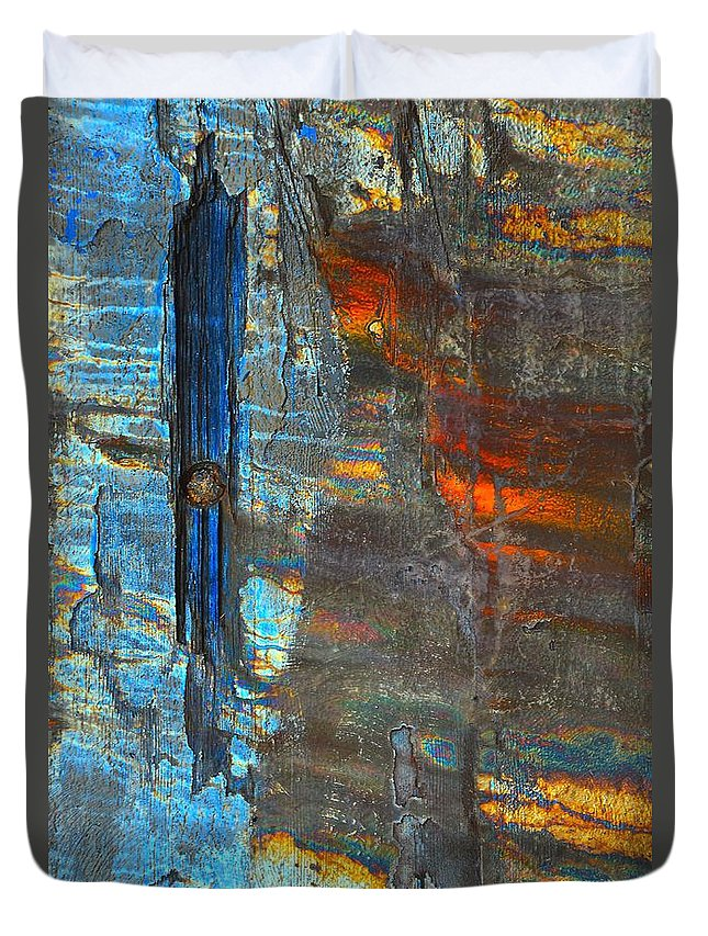 Abstract Duvet Cover featuring the photograph Vertical Dominance In Horizontal Sea by Lauren Leigh Hunter Fine Art Photography